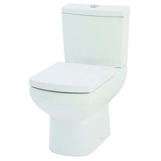 Amor Close Coupled WC Pan and cistern with soft close seat