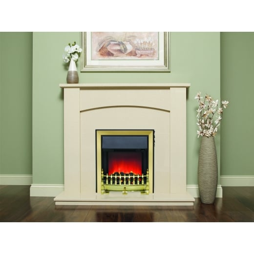 bemodern Allegra Marfil micro marble surround with a matching back panel and hearth