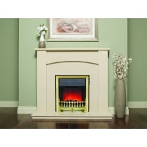 Allegra Marfil micro marble surround with a matching back panel and hearth