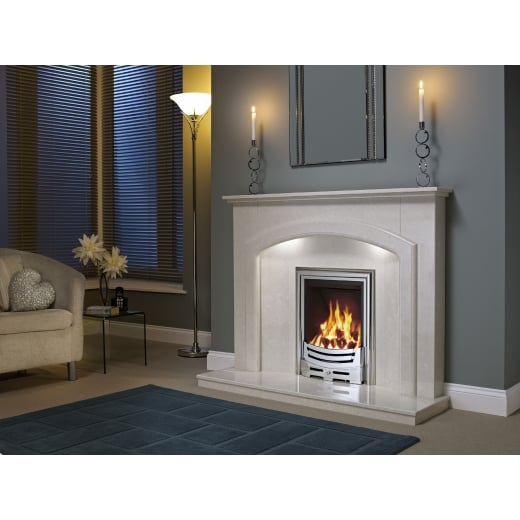 bemodern Andorra Marfil micro marble surround with a matching back panel and hearth