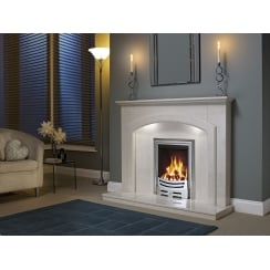 Andorra Marfil micro marble surround with a matching back panel and hearth