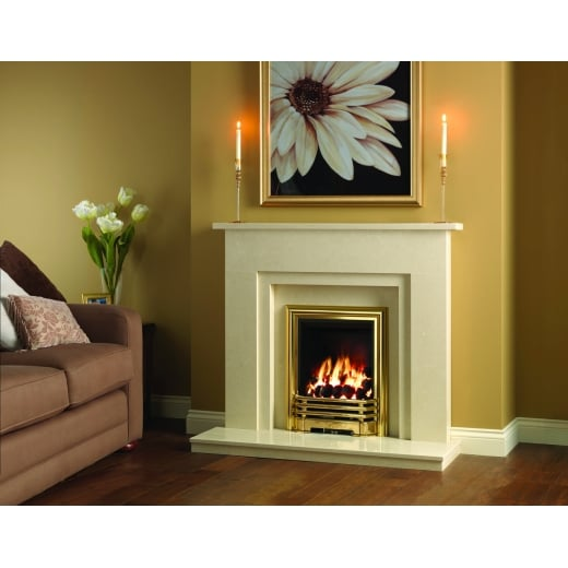 bemodern Clara Marfil micro marble surround with a matching back panel and hearth