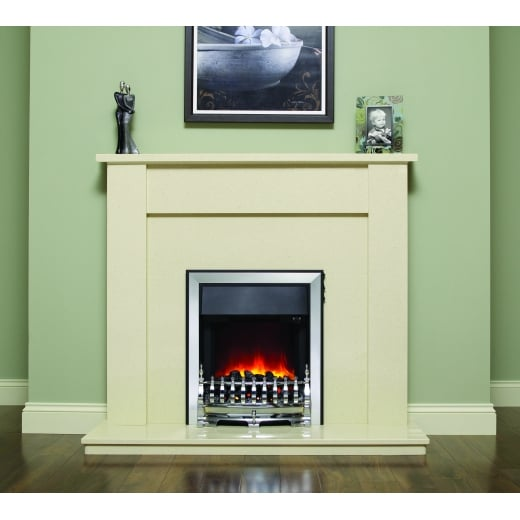 bemodern Elda Marfil micro marble surround with a matching back panel and hearth