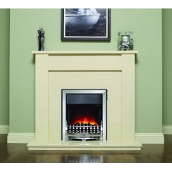 Elda Marfil micro marble surround with a matching back panel and hearth