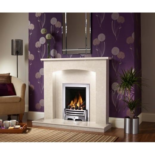 bemodern Isabelle Marfil micro marble surround with a matching back panel and hearth