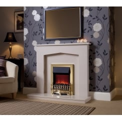 Melrose Marfil micro marble surround with a matching back panel and hearth
