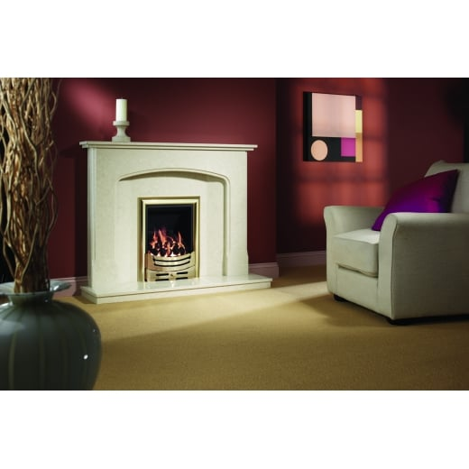 bemodern Octavia  Marfil micro marble surround with a matching back panel and hearth