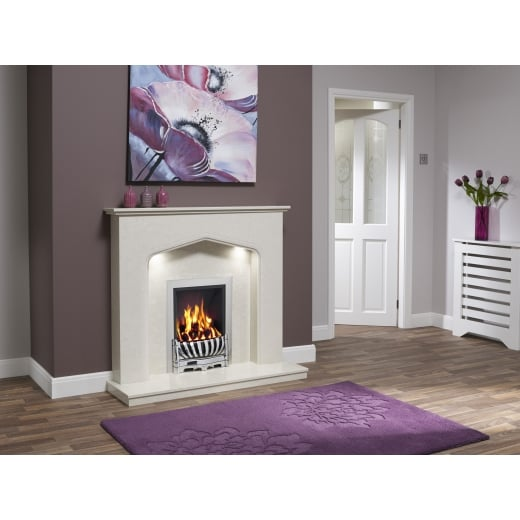 bemodern Piera Marfil micro marble surround with a matching back panel and hearth