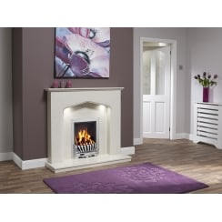 Piera Marfil micro marble surround with a matching back panel and hearth