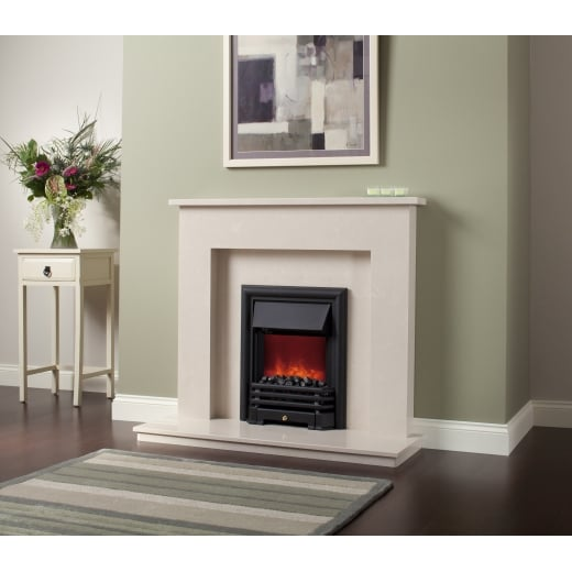 bemodern Roma  Marfil micro marble surround with a matching back panel and hearth