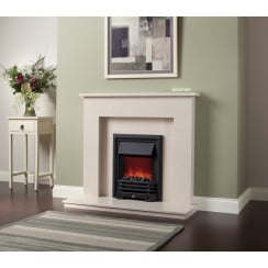 Roma  Marfil micro marble surround with a matching back panel and hearth