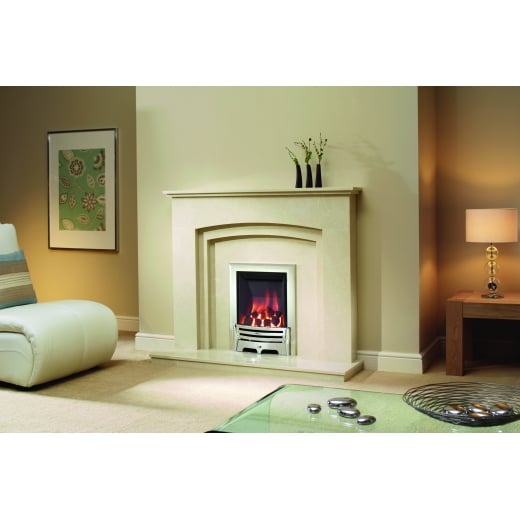 bemodern Rossano Marfil micro marble surround with a matching back panel and hearth
