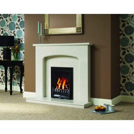 bemodern Tasmin  Marfil micro marble surround with a matching back panel and hearth