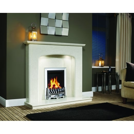 bemodern Viola Marfil micro marble surround with a matching back panel and hearth