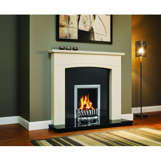 Standard Lipped Hearth and Back Panel  Set in Black Granite