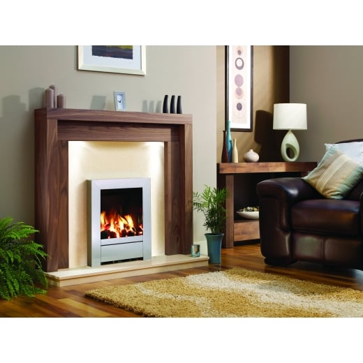 Standard Lipped Hearth and back Panel Set  in Pearl Stone micro marble
