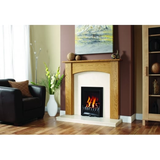Standard Lipped Hearth and back panel Set in White  micro marble